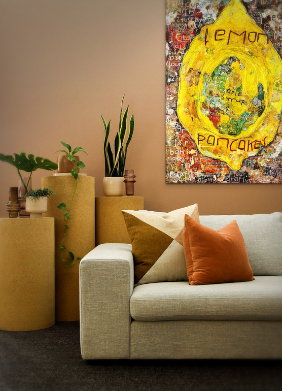 Picture of Recipe of the Lemon Pancakes by Clint Eccher displayed on a wall above a couch
