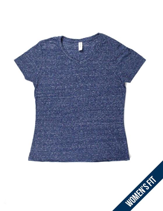Plain Women's Short Sleeve Premium V-Neck Tee (Navy Snow Heather)