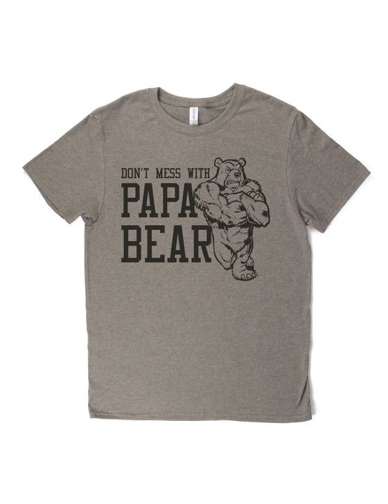 Don't Mess With Papa Bear Short Sleeve Premium Tee (Taupe Heather)
