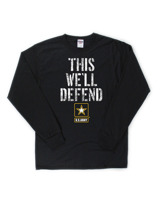 Army Logo This We'll Defend Long Sleeve Classic Tee (Black)