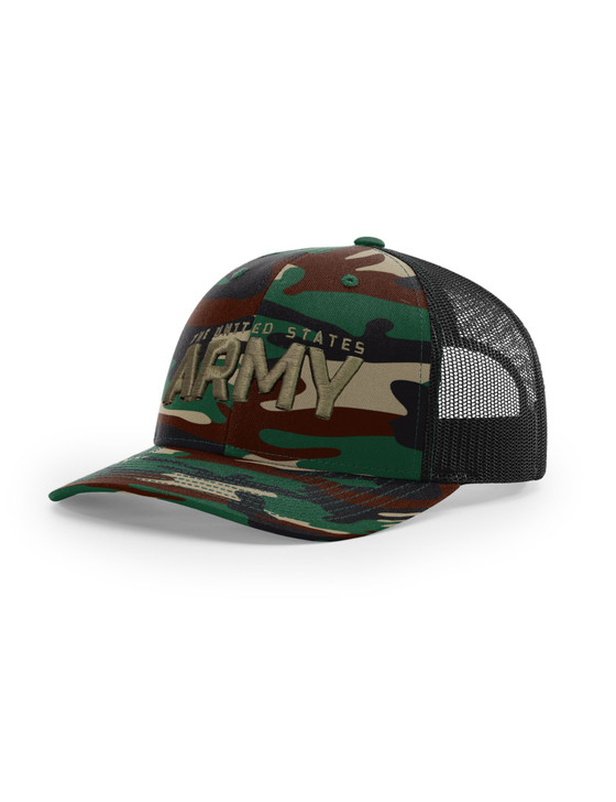 Army Text 3D Richardson 112 Trucker Cap (Green Camo/Black)