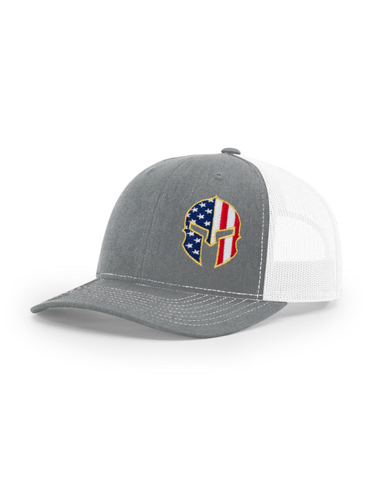 Gladiator Helmet Flag Richardson 112 Trucker Cap (Heather Grey/White)
