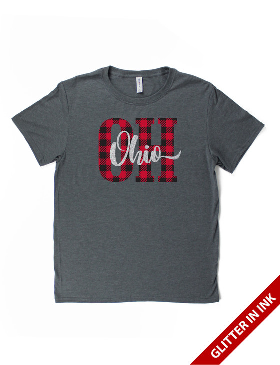Plaid OH With Script Short Sleeve Premium Tee (Charcoal Heather)