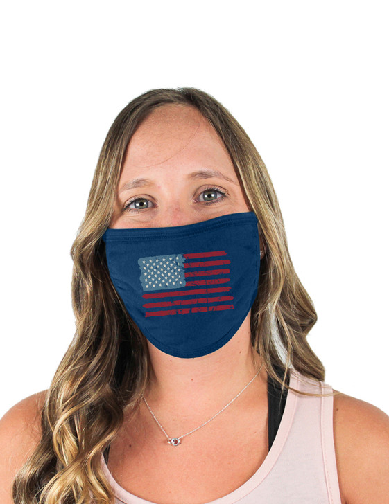 American Flag Cloth Face Covering (Navy)