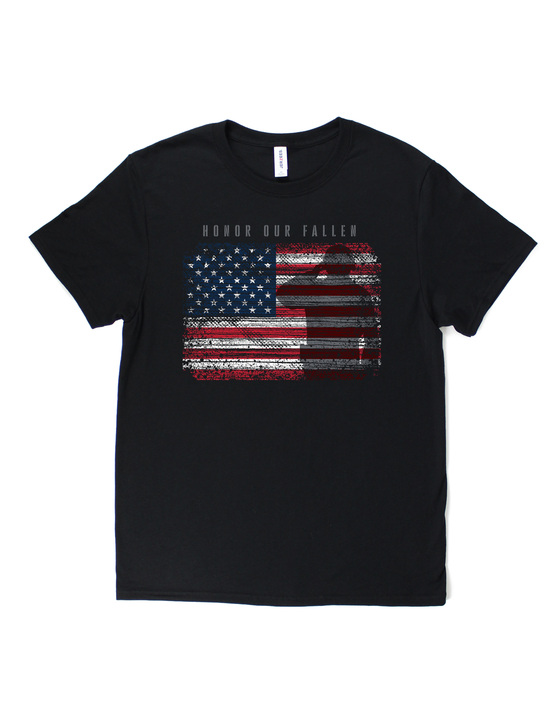 Honor Our Fallen Soldier Flag Short Sleeve Premium Tee (Black)