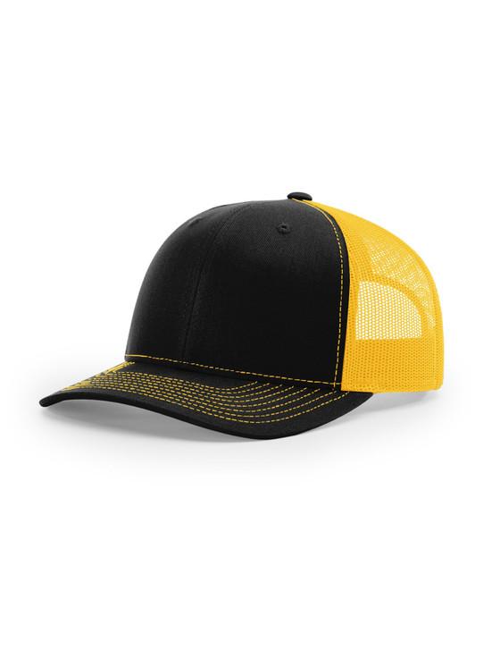 Plain Richardson 112 Trucker Cap (Black/Gold)