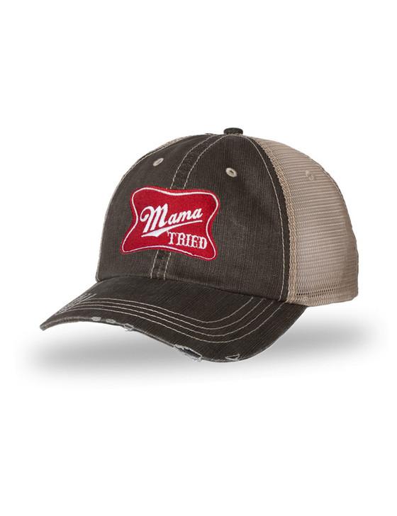 Mama Tried Herringbone Cotton Twill Trucker Cap (Brown/Khaki)
