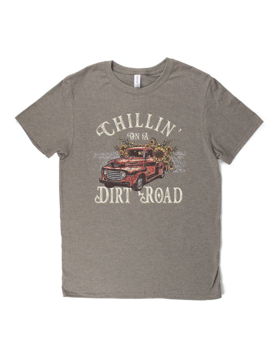 Chillin' On A Dirt Road Short Sleeve Premium Tee (Taupe Heather)