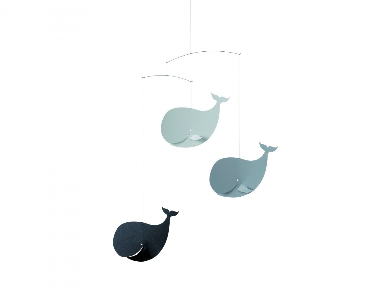 Flensted Happy Whales Mobile in Gray and Black