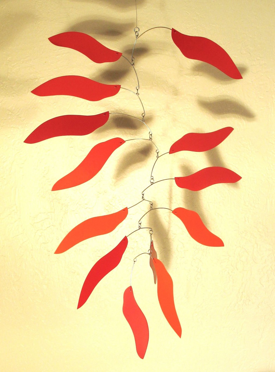 Fire Leaf Mobile in Red
