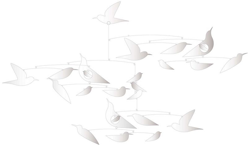 Birds Mobile, White