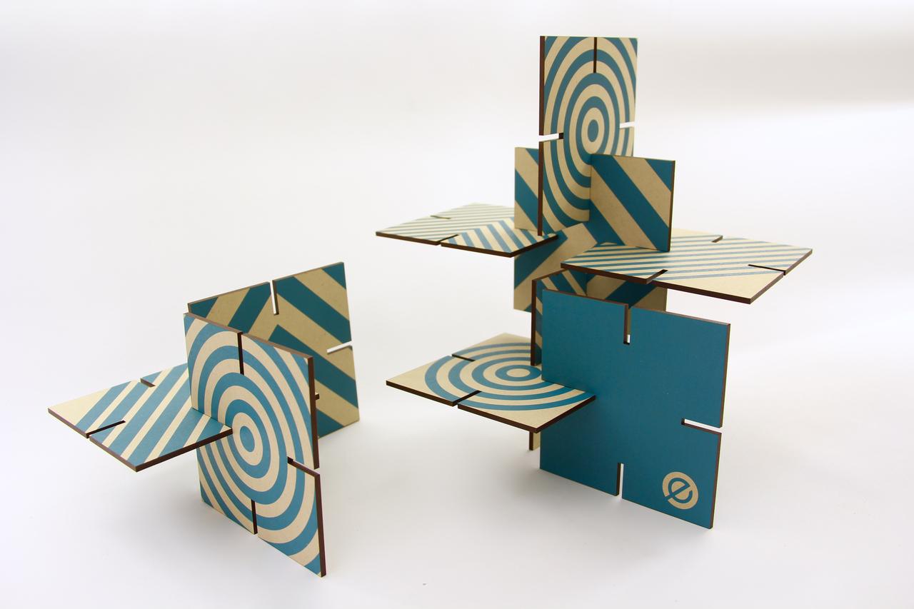 Ekko Workshop Patterened Sculpture Squared, Turquoise