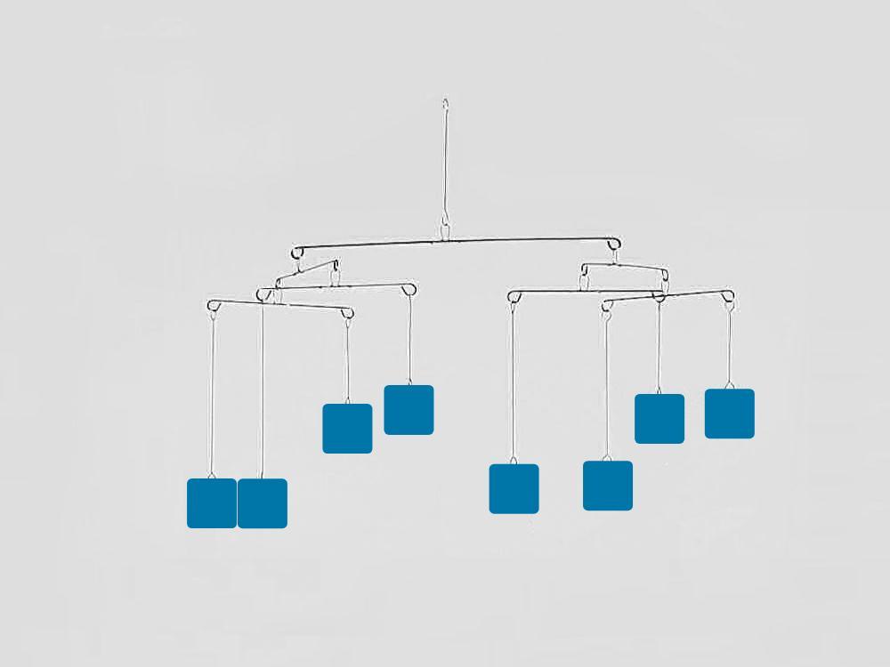 Constellation 8 Mobile, blue squares