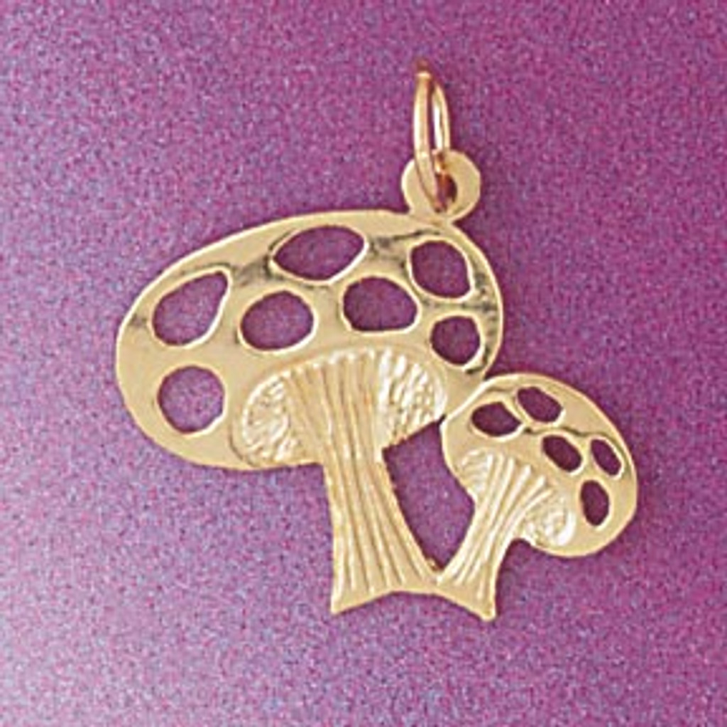 Mushroom Charm Bracelet or Pendant Necklace in Yellow, White or Rose Gold DZ-6916 by Dazzlers