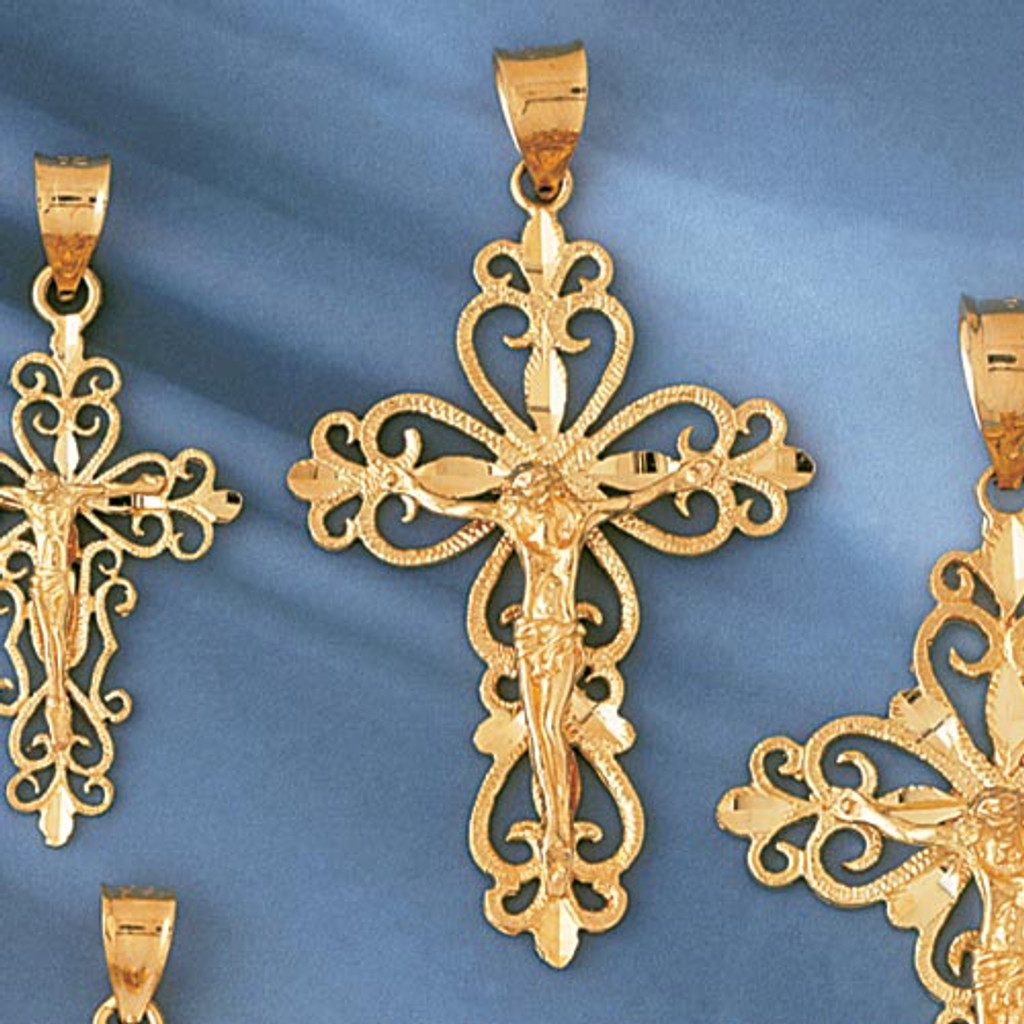 Jesus Christ on Cross Charm Bracelet or Pendant Necklace in Yellow, White or Rose Gold DZ-8388 by Dazzlers