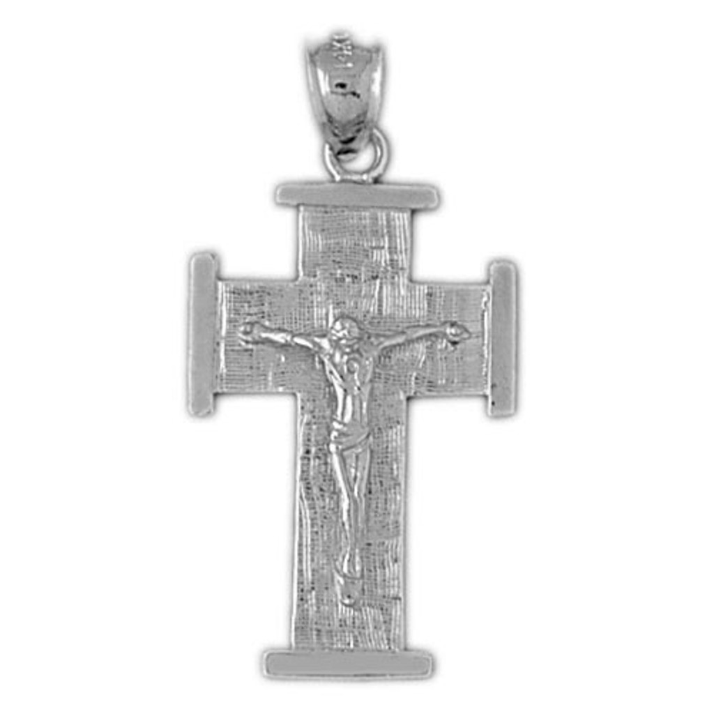 Jesus Christ on Cross Charm Bracelet or Pendant Necklace in Yellow, White or Rose Gold DZ-8453 by Dazzlers