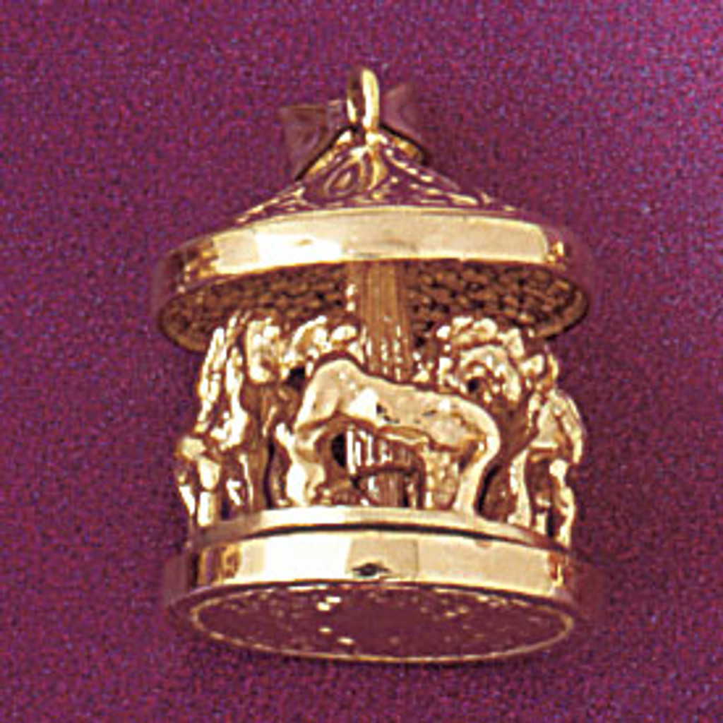 Carousel Horses Pendant Necklace Charm Bracelet in Gold or Silver 5967