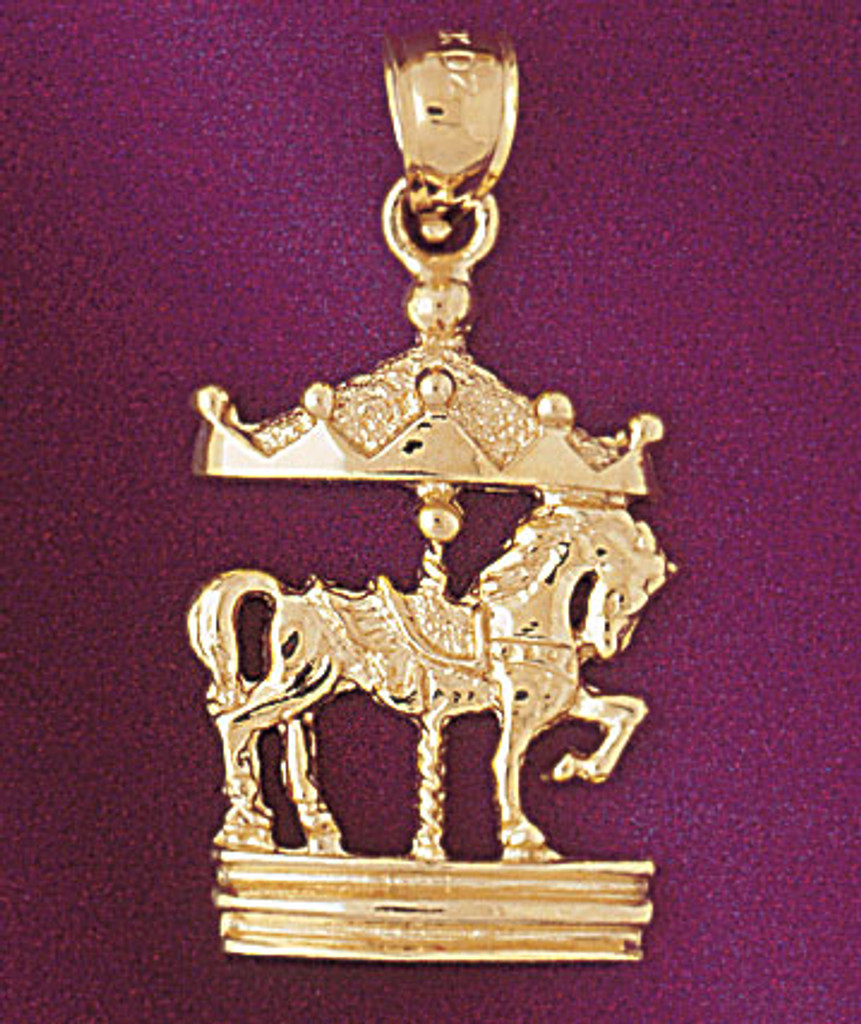 Carousel Horses Pendant Necklace Charm Bracelet in Gold or Silver 5976