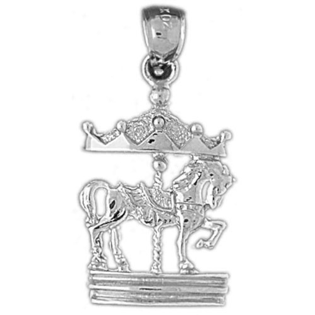 Carousel Horses Charm Bracelet or Pendant Necklace in Yellow, White or Rose Gold DZ-5976 by Dazzlers