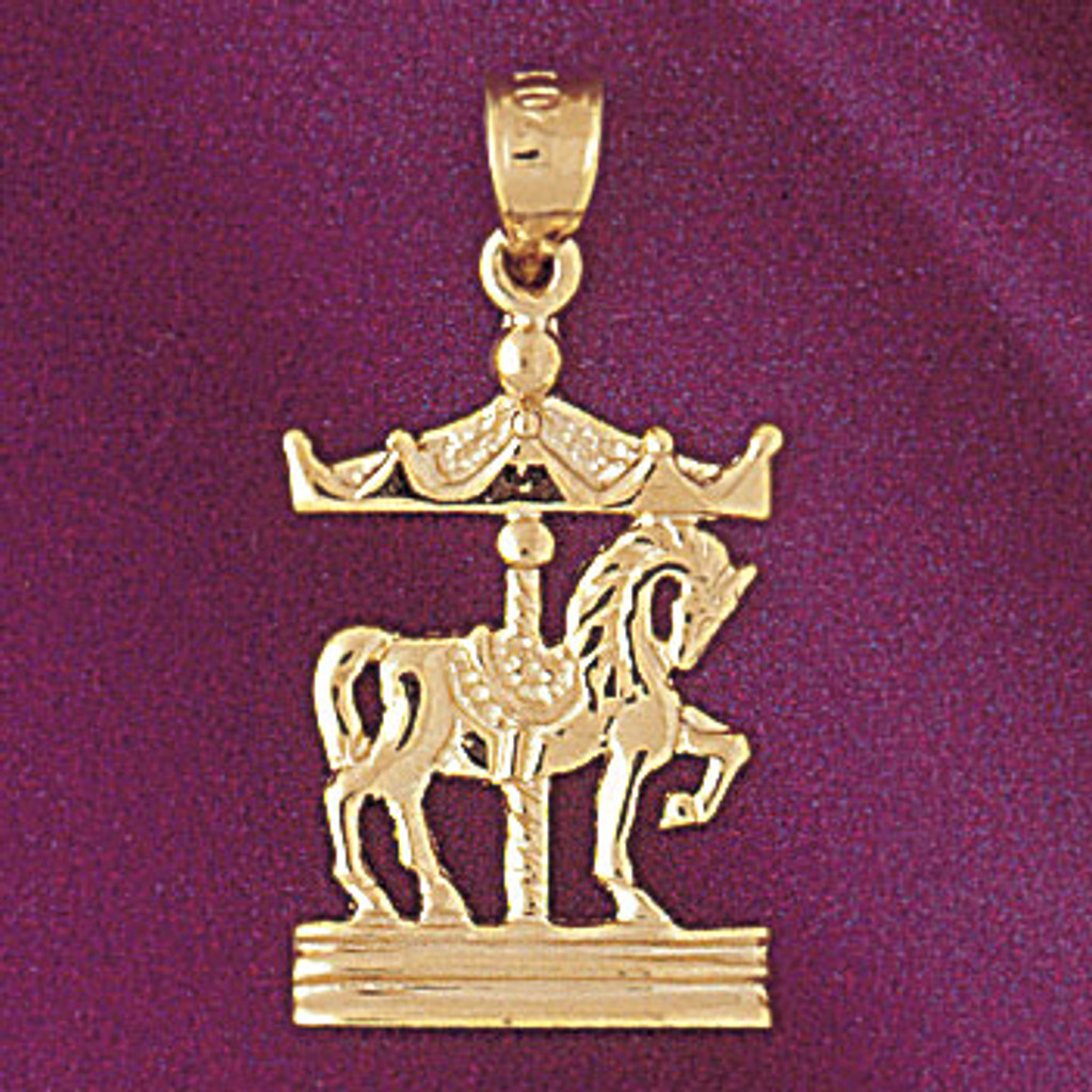 Carousel Horses Pendant Necklace Charm Bracelet in Gold or Silver 5977