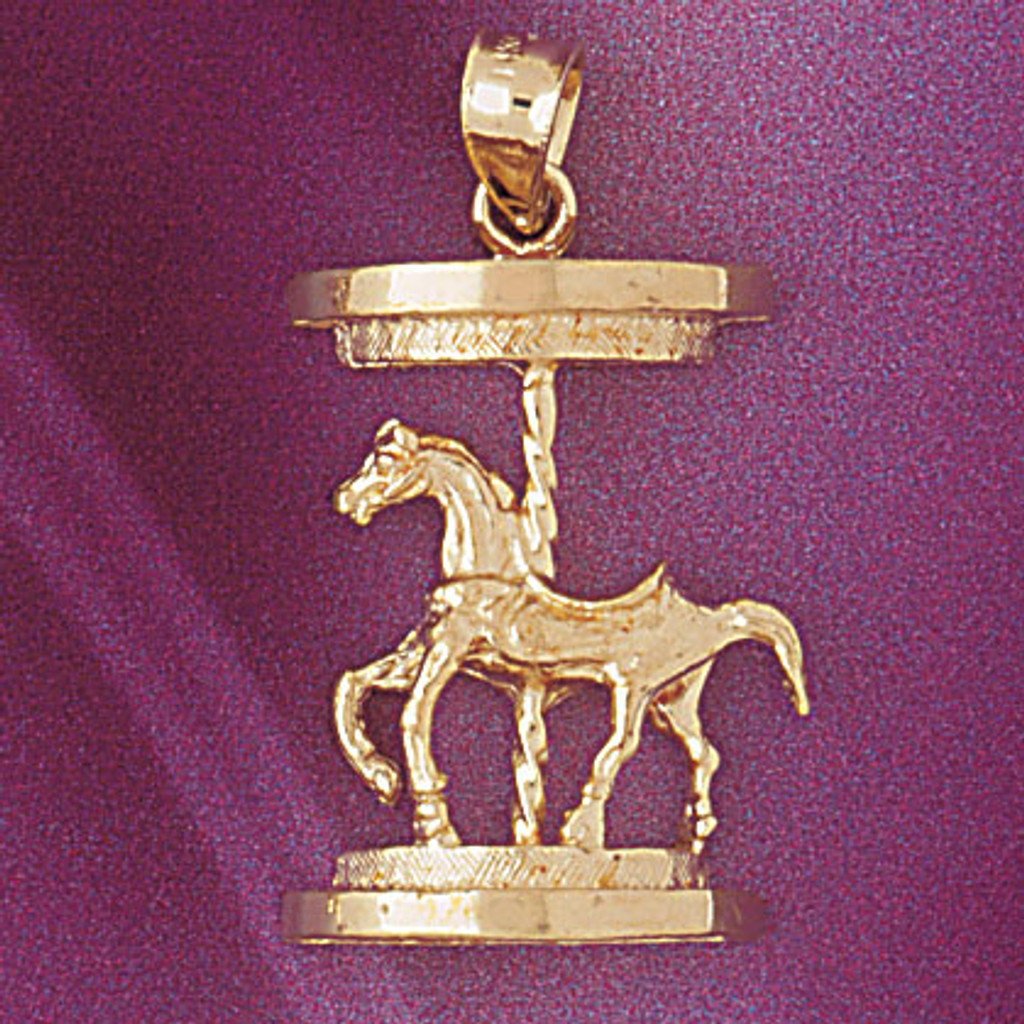 Carousel Horses Pendant Necklace Charm Bracelet in Gold or Silver 5978