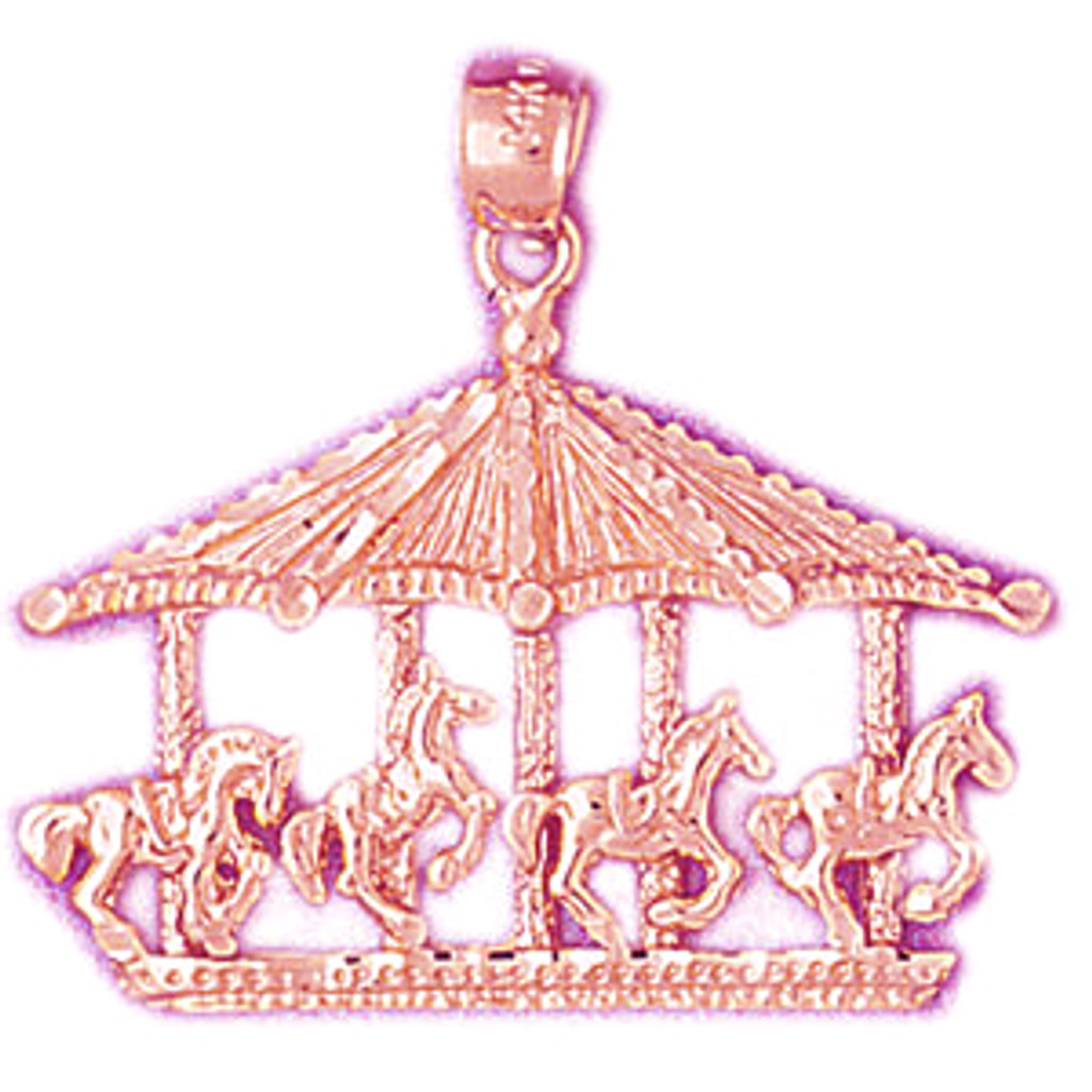 Carousel Horses Pendant Necklace Charm Bracelet in Gold or Silver 5979