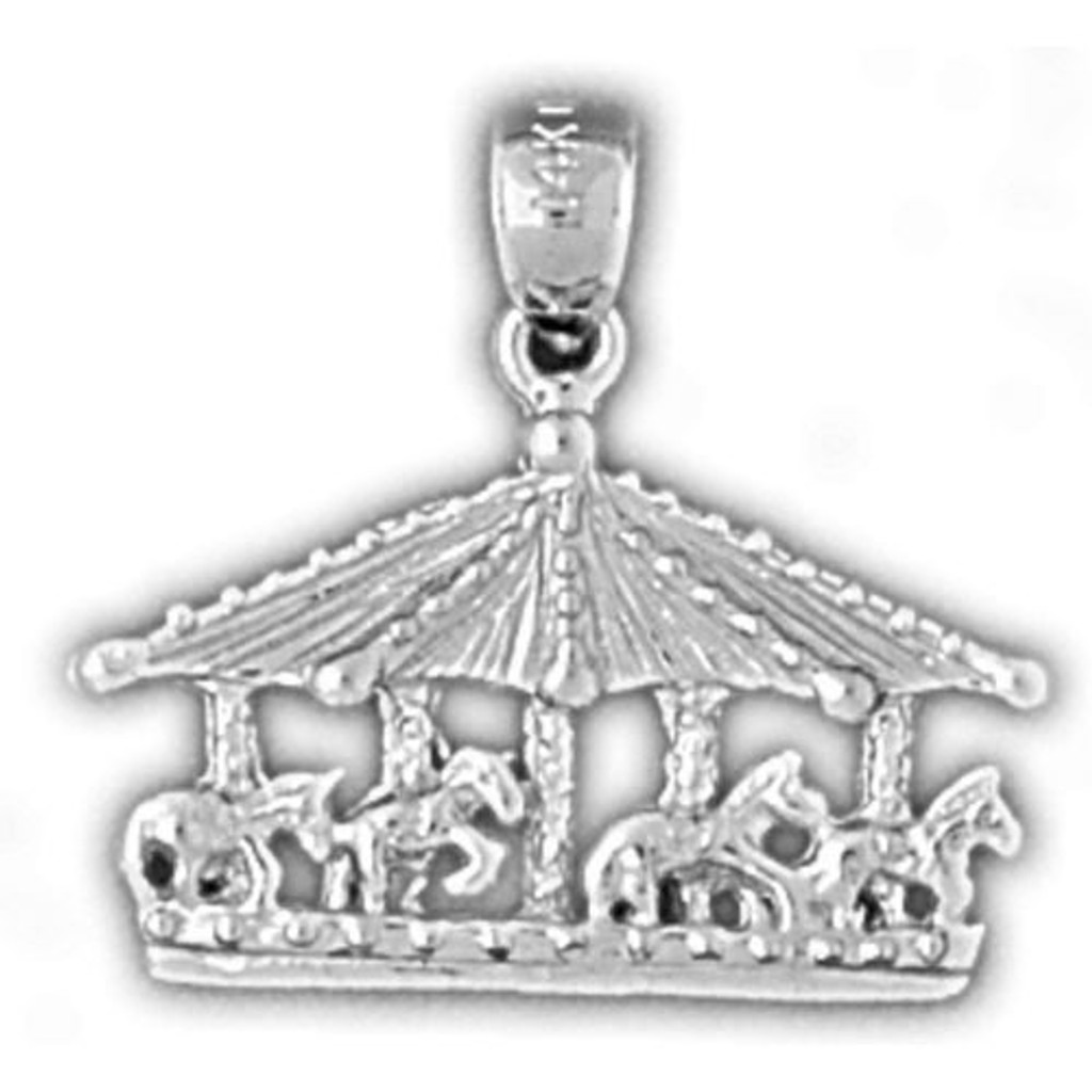 Carousel Horses Charm Bracelet or Pendant Necklace in Yellow, White or Rose Gold DZ-5981 by Dazzlers