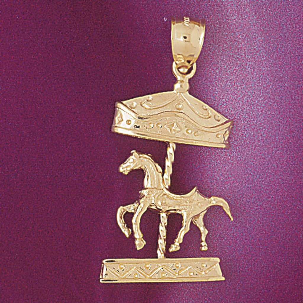 Carousel Horses Pendant Necklace Charm Bracelet in Gold or Silver 5982