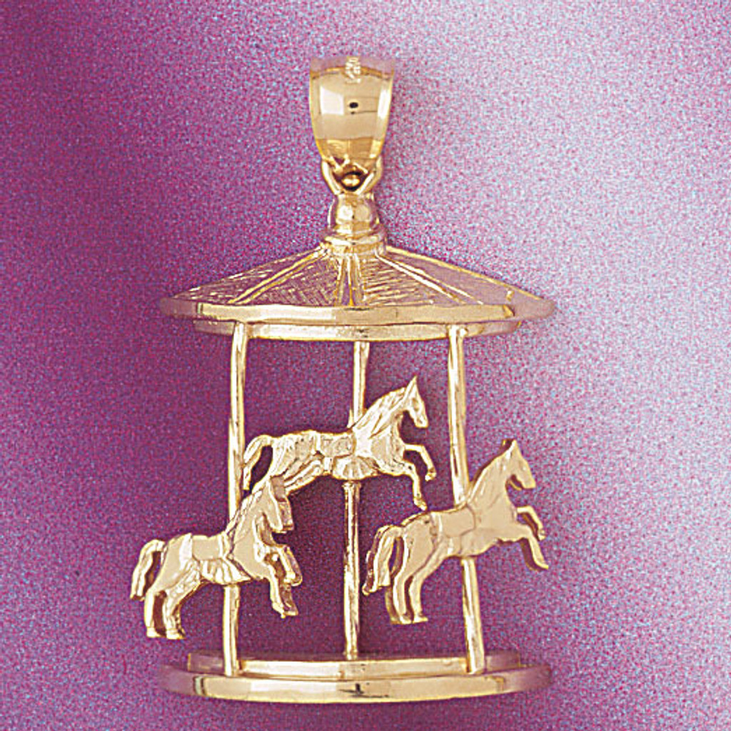Carousel Horses Pendant Necklace Charm Bracelet in Gold or Silver 5983