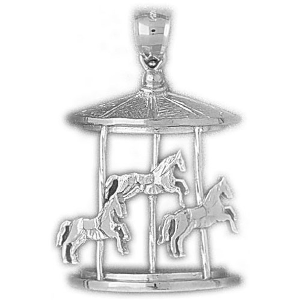 Carousel Horses Charm Bracelet or Pendant Necklace in Yellow, White or Rose Gold DZ-5983 by Dazzlers