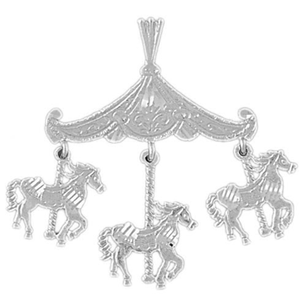 Carousel Horses Charm Bracelet or Pendant Necklace in Yellow, White or Rose Gold DZ-5986 by Dazzlers