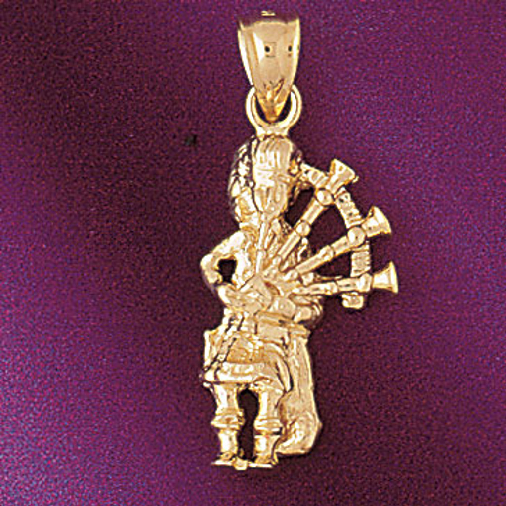 Flute Pendant Necklace Charm Bracelet in Gold or Silver 6238