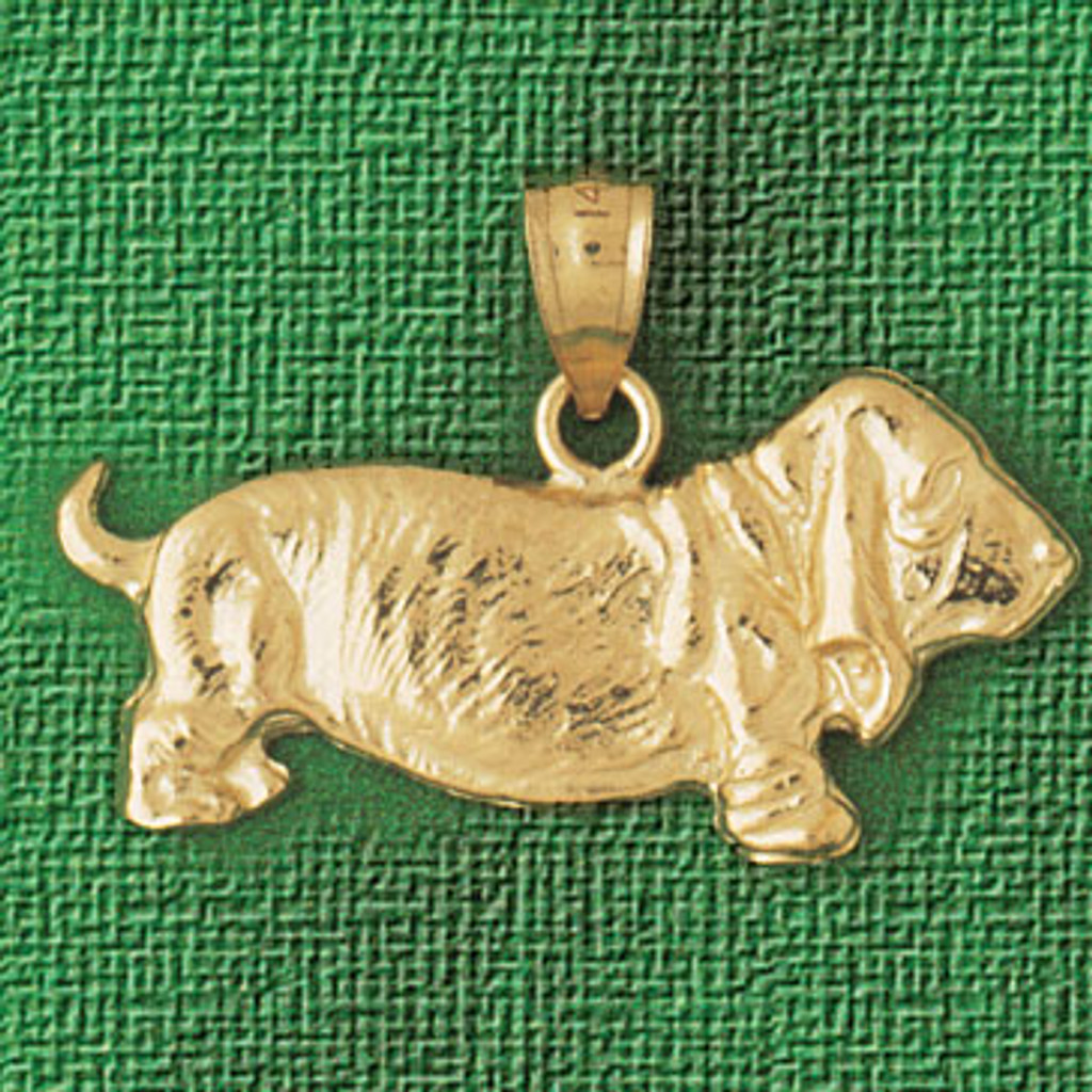 Basset Hound Dog Pendant Necklace Charm Bracelet in Gold or Silver 2110
