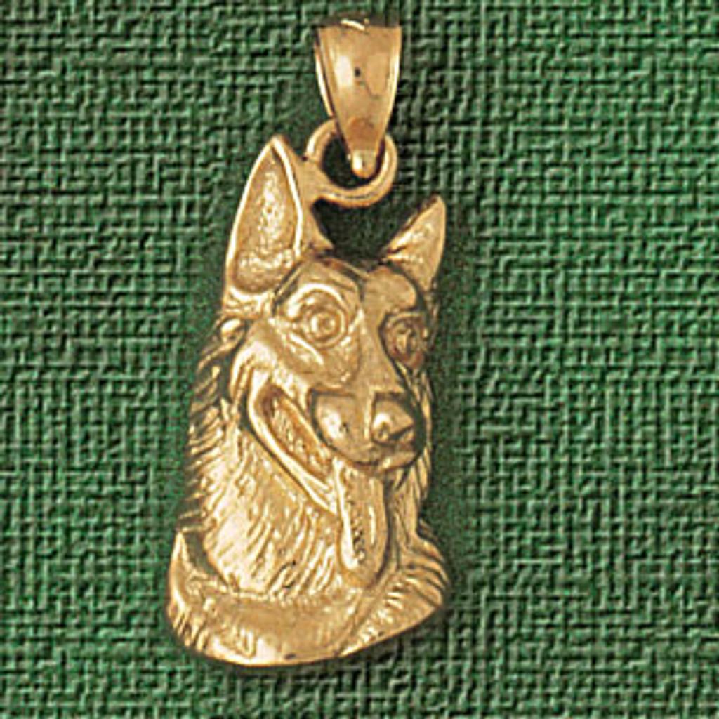 73f261db93e86 German Shepherd Dog Pendant Necklace Charm Bracelet in Gold or Silver 2139
