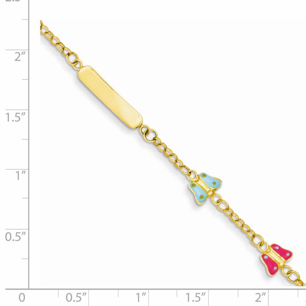 Enameled Butterflies Baby Child ID Bracelet 14k Gold Polished BID59-6