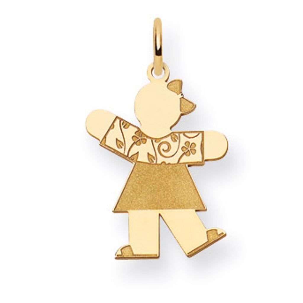 14k White Gold Solid Polished Laser Etched Cuddle Charm