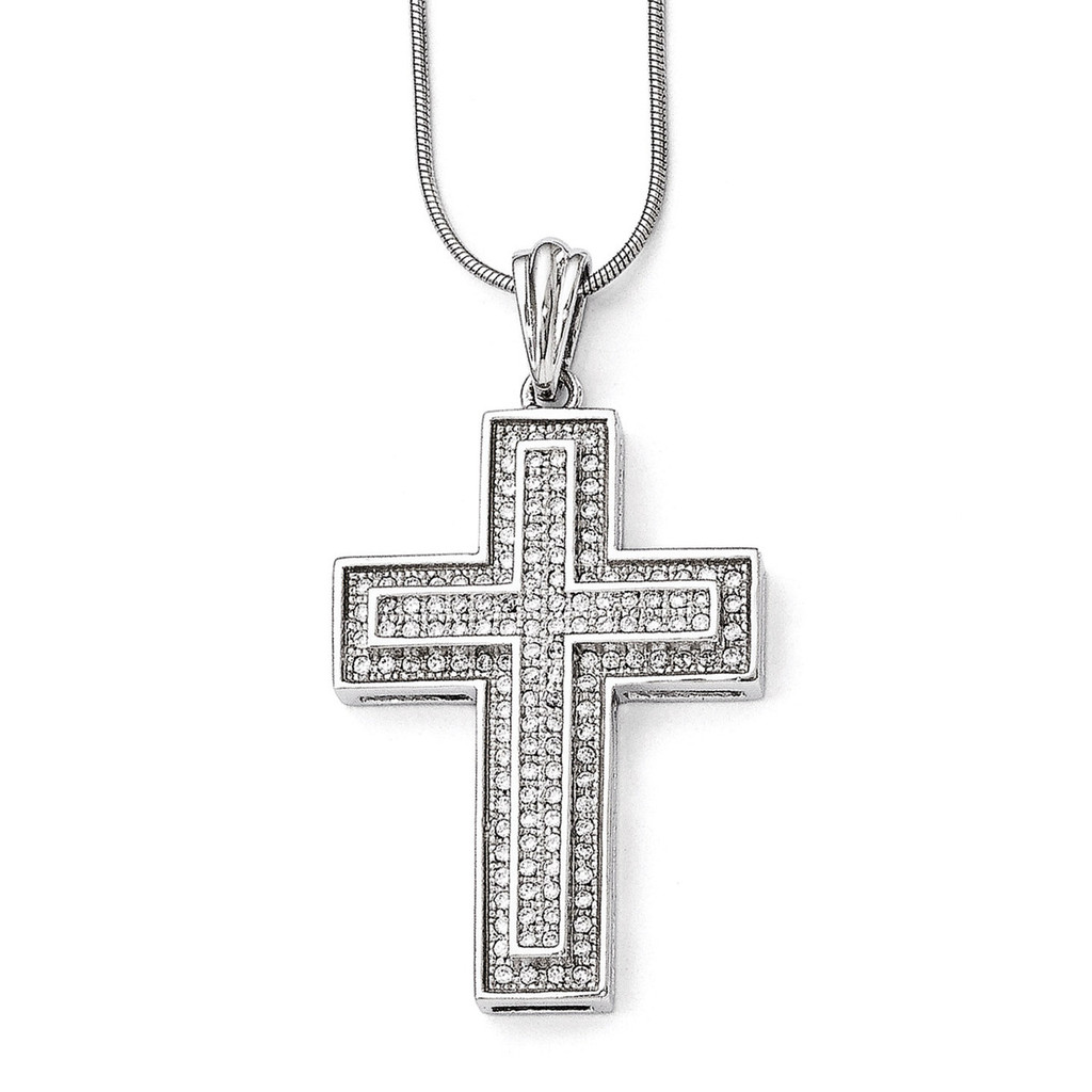 Cross Necklace Sterling Silver & Cubic Zirconia Polished QMP297-18