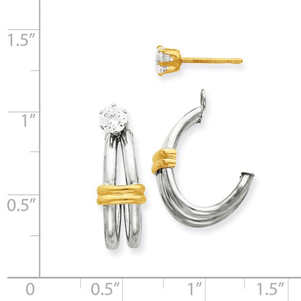 Two-tone J Hoop with Cubic Zirconia Stud Earring Jackets 14k Gold YE1483