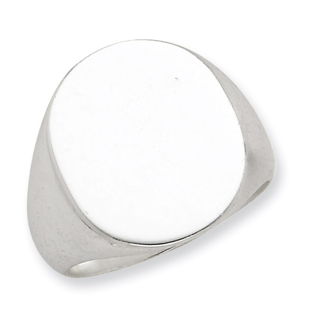 Sterling Silver 17x13mm Closed Back Signet Ring Men Rings