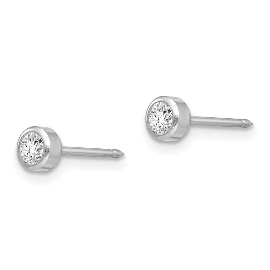 4mm April Crystal Bezel Earrings 14k White Gold 454E