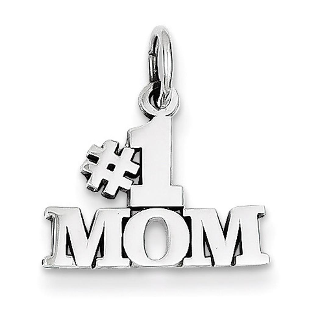 #1 Mom Charm 14k White Gold WCH30