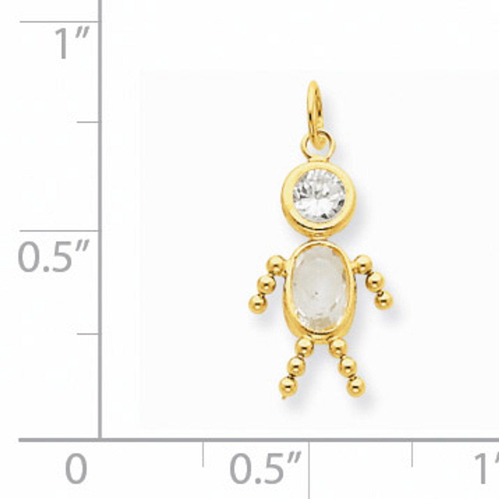 April Boy Birthstone Charm 14k Gold XCK163