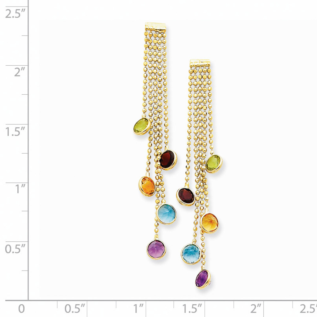 Multi-colored Gemstone Dangle Earrings 14k Gold YE879