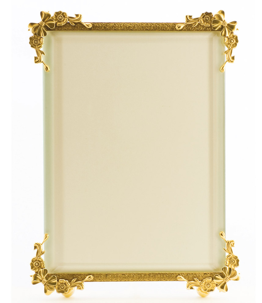 La Paris Bow Corners 4 x 6 Inch Brass Picture Frame - Vertical