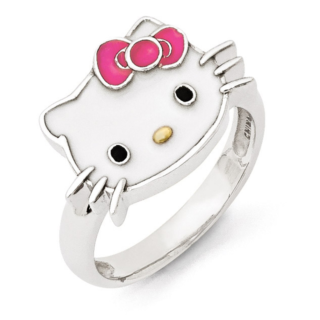 7dc9a833e Hello Kitty Sterling Silver Ring Enameled Gold- plated - HomeBello