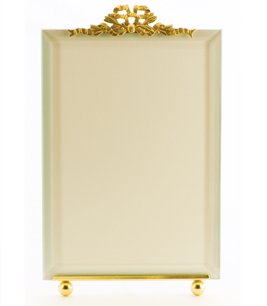 La Paris French Ribbon 3.5 x 5 Inch Brass Picture Frame - Vertical