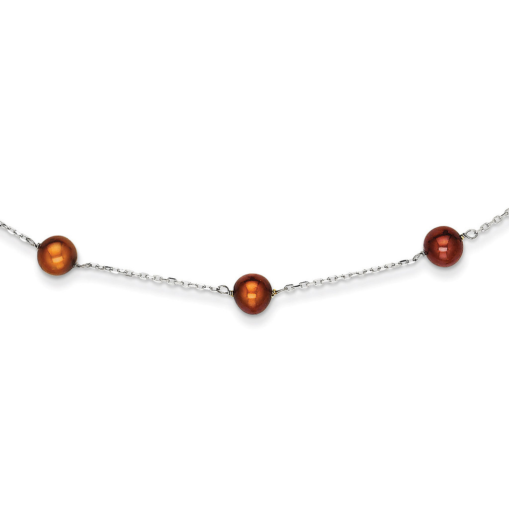 14k White Gold Brown Fresh Water Cultured Pearl Necklace MPN: PR59-16