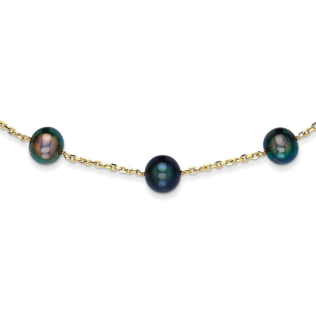 14k Gold Black Fresh Water Cultured Pearl Necklace MPN: PR66-18