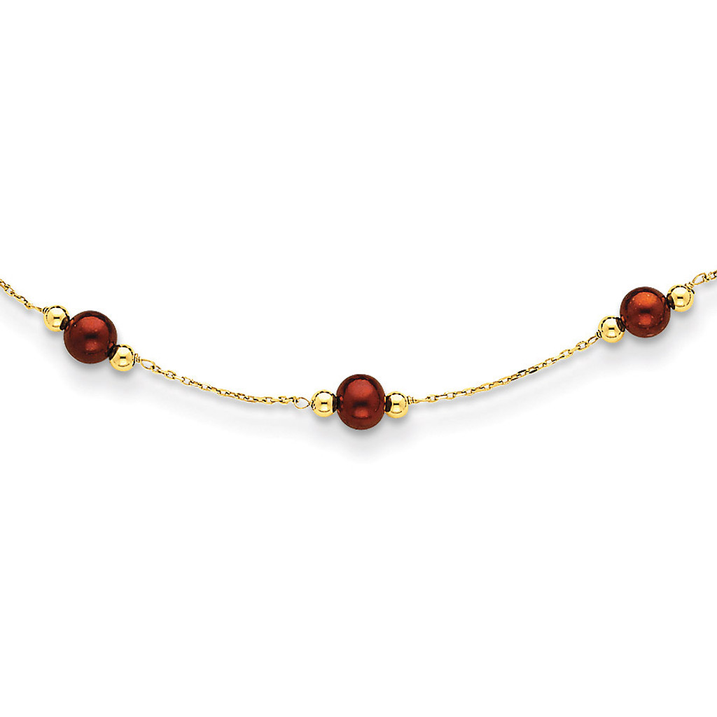 14k Gold Coffee Brown Fresh Water Cultured Pearl & Bead Necklace MPN: PR76-18