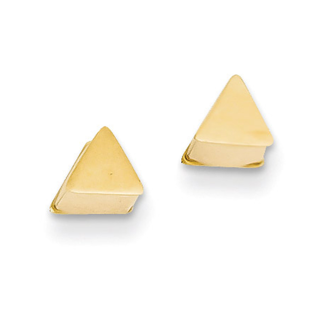14k Gold Polished Hollow Triangle Post Earrings MPN: YE1645